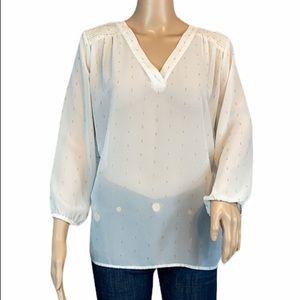 ANN TAYLOR Sheer Blouse Size M